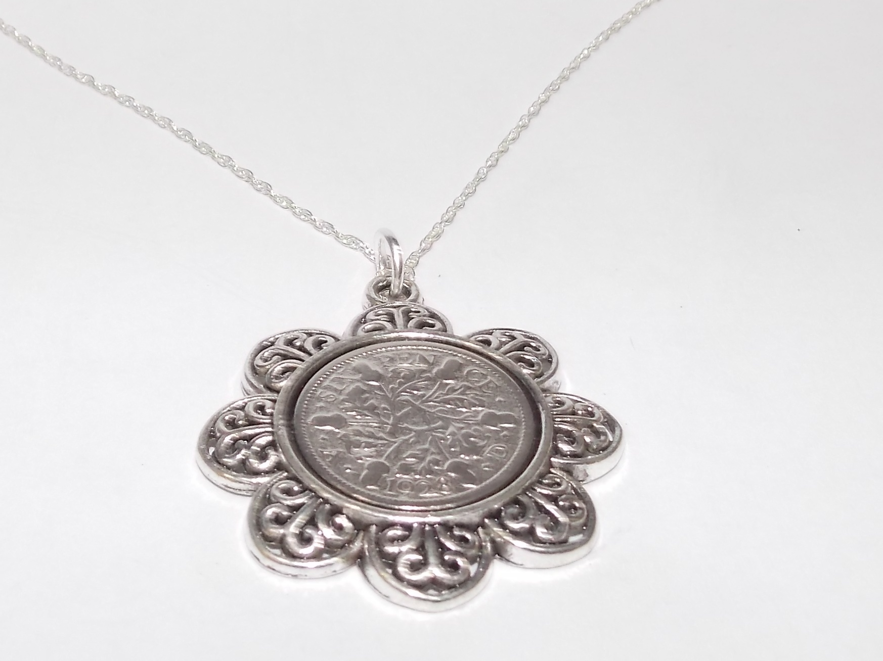 18 inch Sterling Silver Chain Details about  /Fine Pendant 1928 Irish sixpence 93rd Birthday