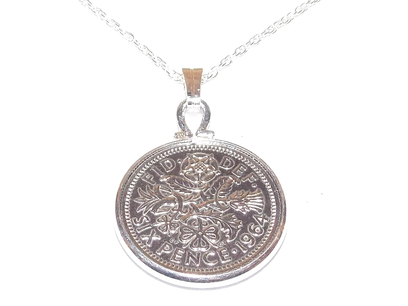 Fancy Pendant 1959 Lucky sixpence 60th Birthday Sterling Silver 20in Chain